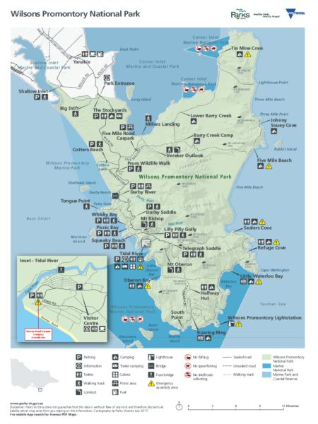 Map of Wilsons Promontory National Park
