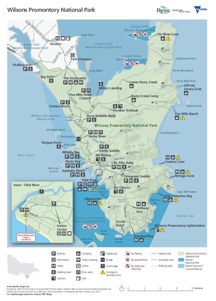 Mapa Parku Narodowego Wilsons Promontory
