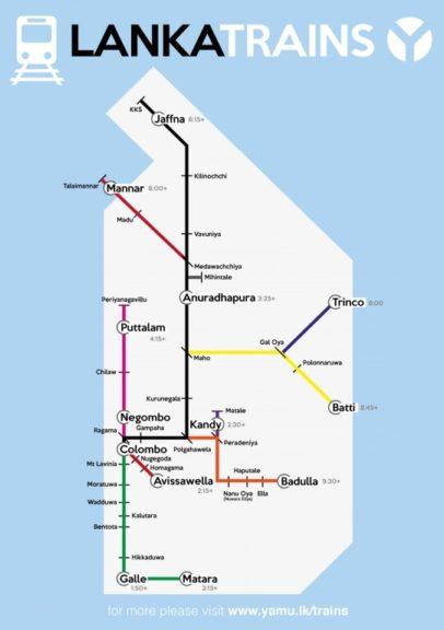 Mapa połączeń kolejowych na Sri Lance, Kandy Ella pociąg