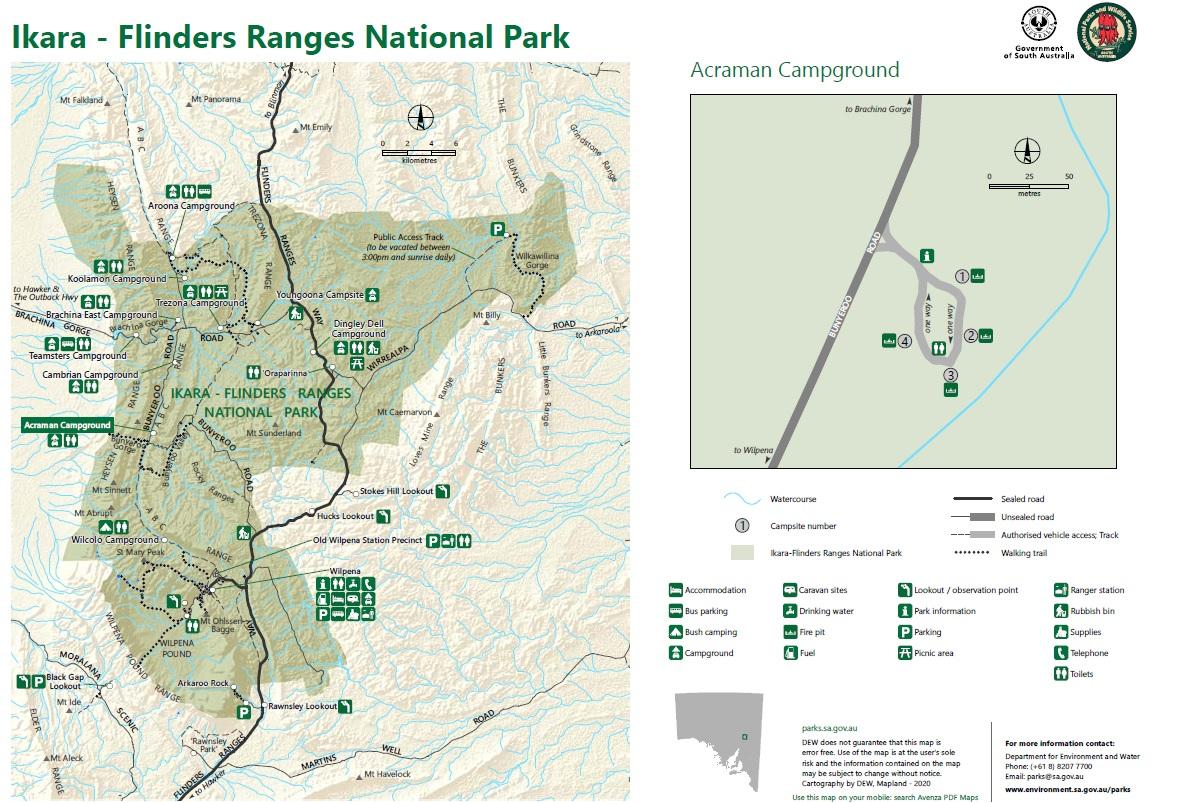 Park Narodowy Flinders Ranges mapa