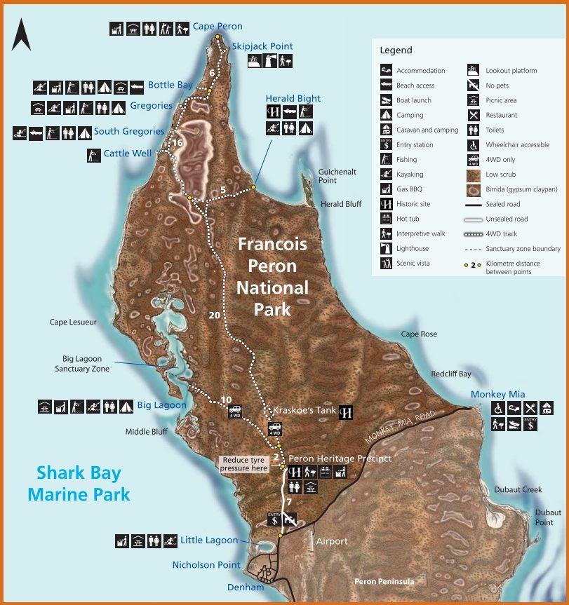 Park Narodowy Francois Peron mapa