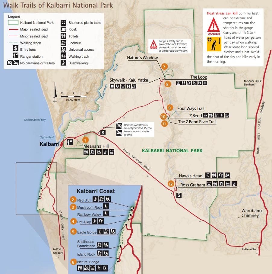 Park Narodowy Kalbarri mapa